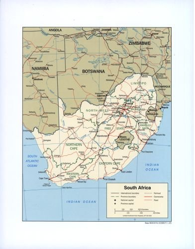 INFINITE PHOTOGRAPHS 2005 Map South Africa. - Size: 18x24 - Ready to Frame - South Africa | South Africa