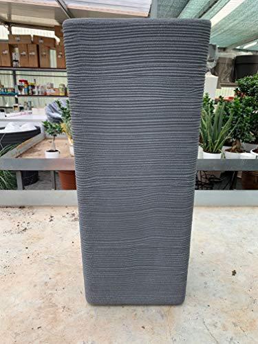 vasar Vaso Quadrato Alto 75cm Pilone Rigato Shabby Vari Colori (ghisa Grigio)