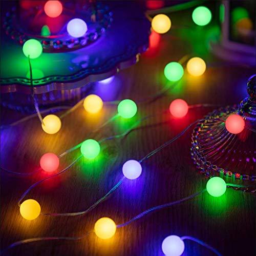 Cadena de Luces de Bola de Globo, Luces de Hadas Funciona con Pilas de 10 Feet 30 LED 8 Modos de Iluminación con Temporizador Remoto para Decoración de Dormitorio Boda (Luz Colorida)