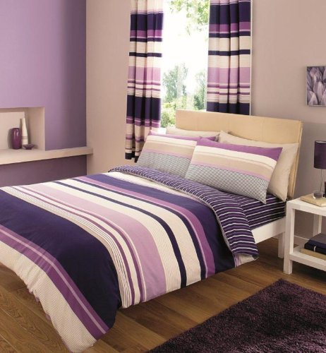 Duvet Cover King Polycotton Printed Complete 4Pcs BEDDING SET With FITTED SHEET, Stripes Purple