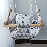HB.YE Wooden Baby Swing Seat Set with Beads Cushions, Handmade Kids Indoor Outdoor Hanging Chair Hammock, Comfortable Toddler Seat Nursery Decor - Grey Triangular
