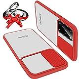 UNIOTEK Funda con Tapa Deslizable para Cámara Compatible con Samsung S21 Ultra Funda Protectora Antigolpe Carcasa PC y Silicona TPU con Soporte de Anillo (Soporte El Montaje De Coche Magnético) Rojo