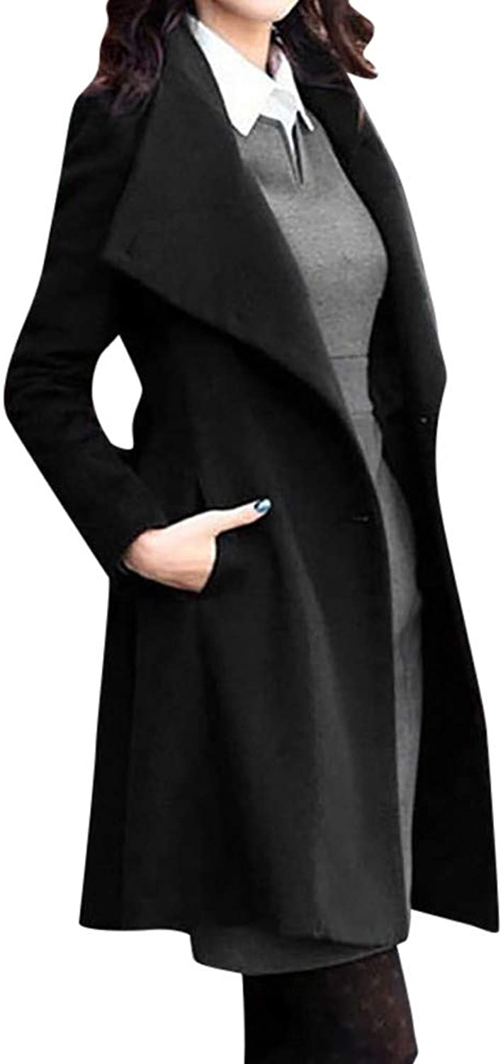 Ameily Womens Winter Lapel Wool Coat Trench Jacket Long Sleeve Overcoat with Belt Open Cardigan Outwear