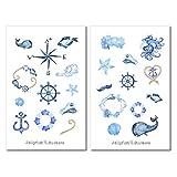 Maritim Sticker Set | Aufkleber Meer | Journal Sticker | Sticker Wal | Sticker Anker