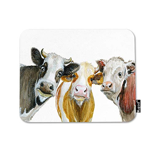 Mugod Cows Mouse Pad Cute Cow Looking at You Cattle Natural Milk Red Yellow Black Mouse Mat Non-Slip Rubber Base Mousepad for Computer Laptop PC Gaming Working Office & Home 9.5x7.9 Inch