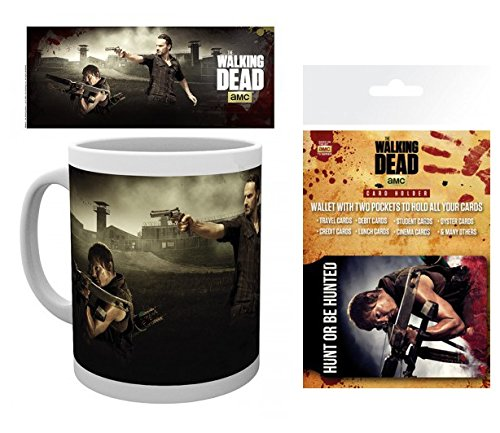 1art1 The Walking Dead, Daryl Dixon, Rick Grimes, Gefängnis Foto-Tasse Kaffeetasse (9x8 cm) Inklusive 1 The Walking Dead EC-Kartenhülle Kartenetui Für Fans Und Sammler (10x7 cm)