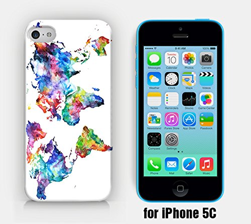 for iPhone 5C - Vintage World Map - Watercolor World Map - Wanderlust - Travel - Free Spirit - Ship from Vietnam - US Registered Brand