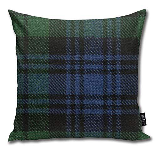 Popluck - Federa decorativa per cuscino da divano, motivo tartan, con cerniera nascosta, 45 x 45 cm