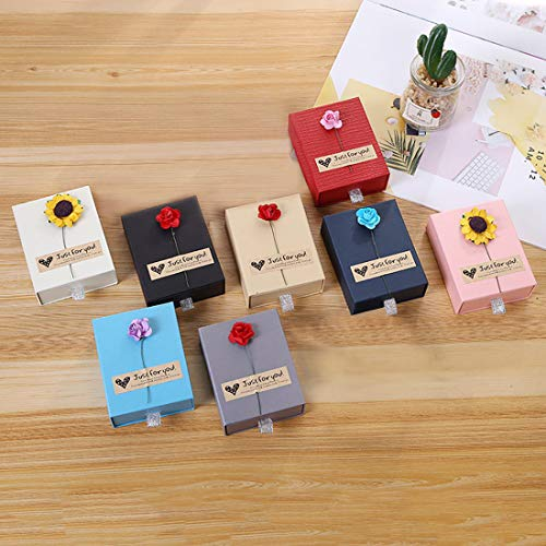 Zhenpony Jewelry Gift Boxes Set, 8-Piece 8-Color Small Kraft Paper Box for Rings Pendants Earrings Necklaces - Ideal for Christmas Holiday Anniversary Wedding Birthday - 3.54 x 2.75 x 1.18 Inches