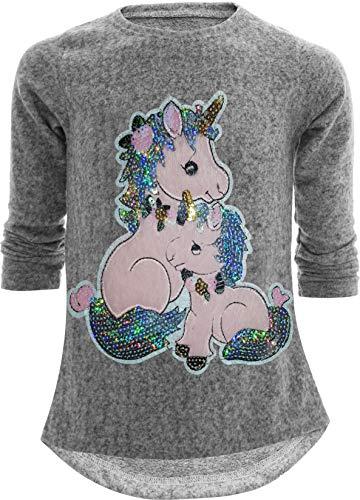 Sudadera con diseño de unicornio y caballo, reversible, con lentejuelas brillantes, blusa...