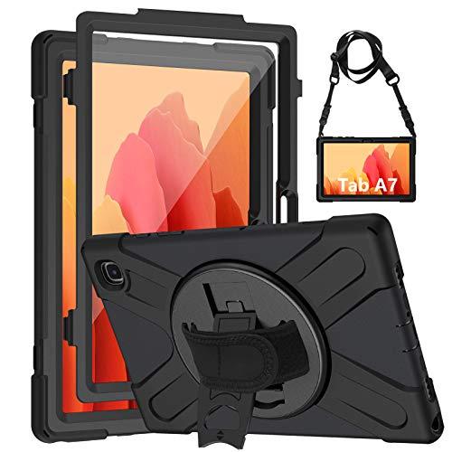 Gerutek Custodia Galaxy Tab A7 10.4 con Protezione per Lo Schermo, Cover per Tutto Il Corpo Resistente agli Urti SM-T500/T505/T507 Resistente con portapenne/cavalletto con Rotazione a 360 / Tracolla
