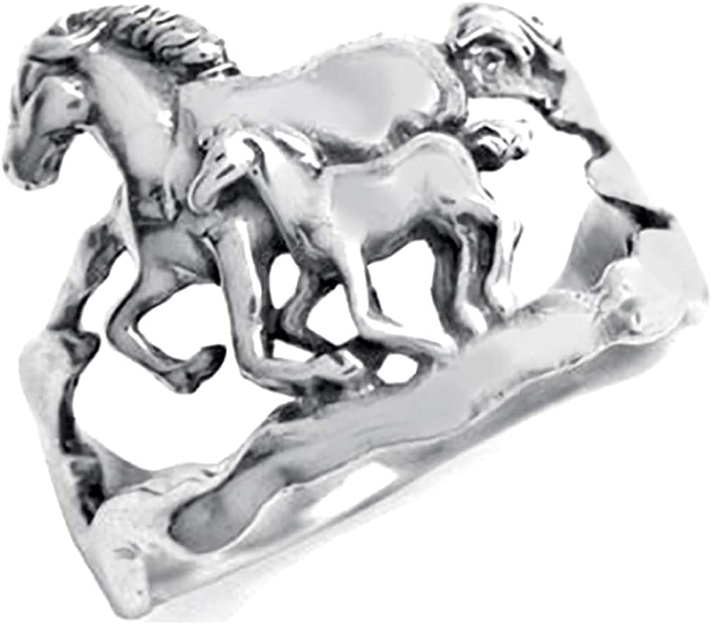 Silvershake Double Horse 925 Sterling Super Special SALE held Silver Antique Finish unisex with
