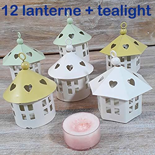 Lanterna casetta in metallo tealight candela CANDLE fai da te o con kit per il confezionamento (bomboniera fai da te)