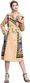 Women Cardigan Jacket Coat, Ladies Long Sleeve Palace Printing Belt Waist Slim Windbreaker Double Breasted Long Trench Coat Overcoat Retro Long Windbreaker Coat
