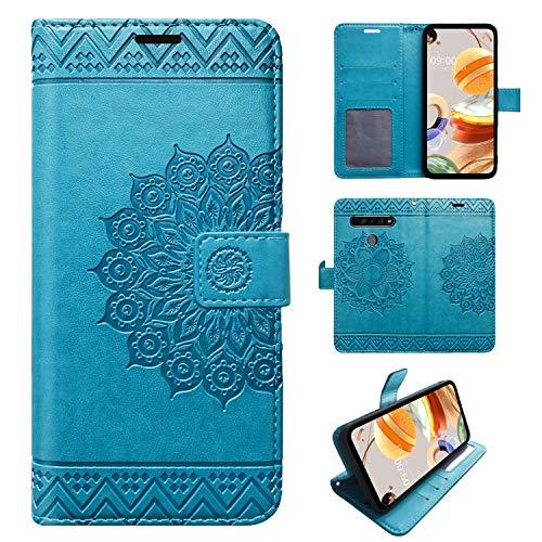betterfon | LG K61 Hülle Handy Tasche Handyhülle Hülle Etui Schutzhülle mit Magnetverschluss/Kartenfächer für LG K61 Blau