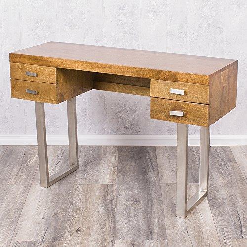 Designer Schreibtisch LAYA Stone Bürotisch Computertisch Mango Massivholz