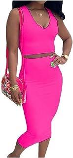 VITryst 女性2ピースボディコン鉛筆ドレスVネック立体カラースカートドレス