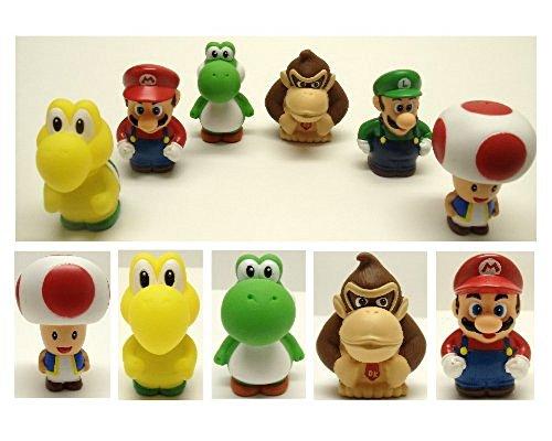 Super Mario Brothers 6 Piece Bath Play Set Featuring Mario Luigi Koopa Troopa Yoshi Donkey Kong and Toad