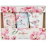 Cath Kidston–trío de cremas de mano decoradas con pájaros y flores, 3x 30ml.