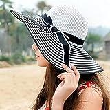 Sombrero De Playa para Gran Oferta, Sombrero De Sol De Verano con Lazo A Rayas Blancas Y Negras De Hepburn Wind, Sombrero De Paja De Playa para Mujer Hermosa, Sombrero De ala