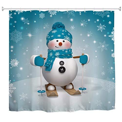 A.Monamour Duschvorhänge Weihnachten Ski Cartoon Schneemann Tragen Blauen Schal Hut Schnee Schneeflocke Druck Stoff Polyester Nicht Kunststoff PVC Wasserdicht Lange Verdicken Duschvorhang 180X180 cm