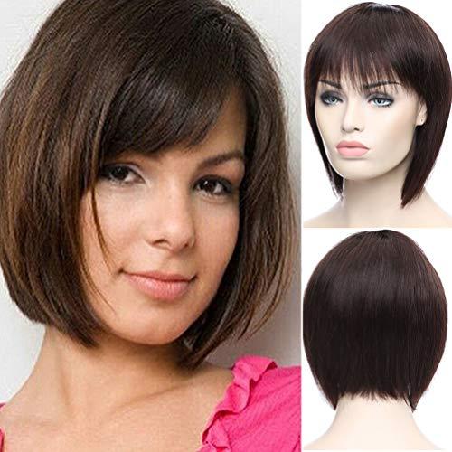 S-noilite Kurzhaar-Perücke, glatt, brasilianisches unbehandeltes Haar, Dunkelbraun, für Frauen, ohne Spitze, verstellbare Kappe
