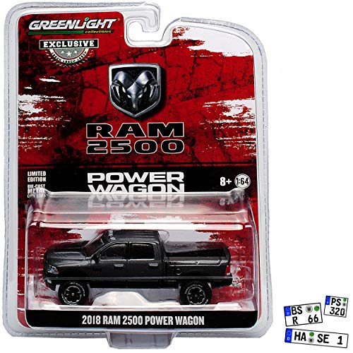 Greenlight Dodge Ram 2500 Power Grau Schwarz 4. Generation 2009-2018 1/64 Modell Auto mit individiuellem Wunschkennzeichen