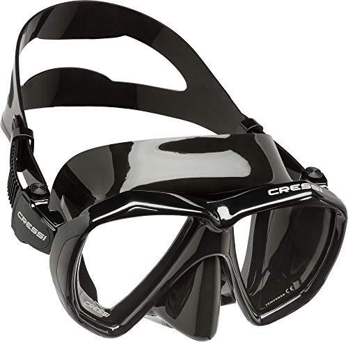 Cressi Ranger Mask Maschera Subacquea a Due Vetri Temperati, Unisex – Adulto, Nero/Nero, Taglia Unica