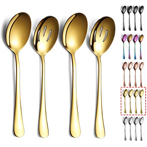 Gold Servierlöffel, Kyraton Titanbeschichtung, Servierlöffel, inklusive 2 Servierlöffel und 2 Schlitzlöffel, Edelstahl-Servierutensilien, 4 Stück
