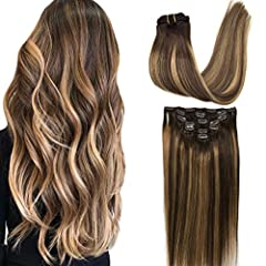【High Quality Hair Extensions】-- 9A grade, 100% remy human hair extensions, salon quality, soft like your own natural hair. Our clip hair extensions can last 2-3 monthes with good care. 7pcs 120g clip in hair extensions for thick hair, 2 sets for thi...
