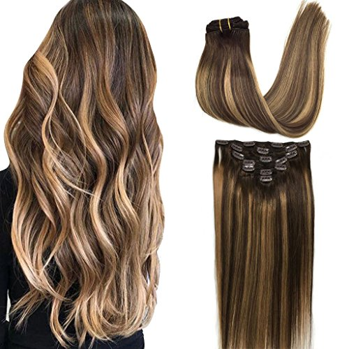 GOO GOO Hair Extensions Clip in Ombre Chocolate Brown to Caramel Blonde Remy Human Hair Extensions Clip in Real Hair Extensions Natural Hair Extensions Straight 7pcs 120g 16 inch