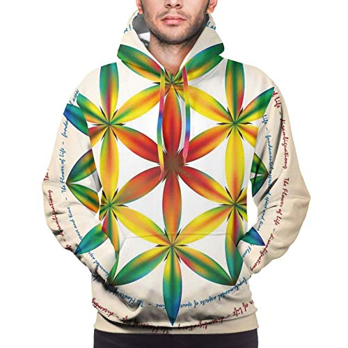 Men's Hoodies Sweatshirts,Symbol of Fundamental Aspect of Space and Time Esoteric New Spiral Print,Medium
