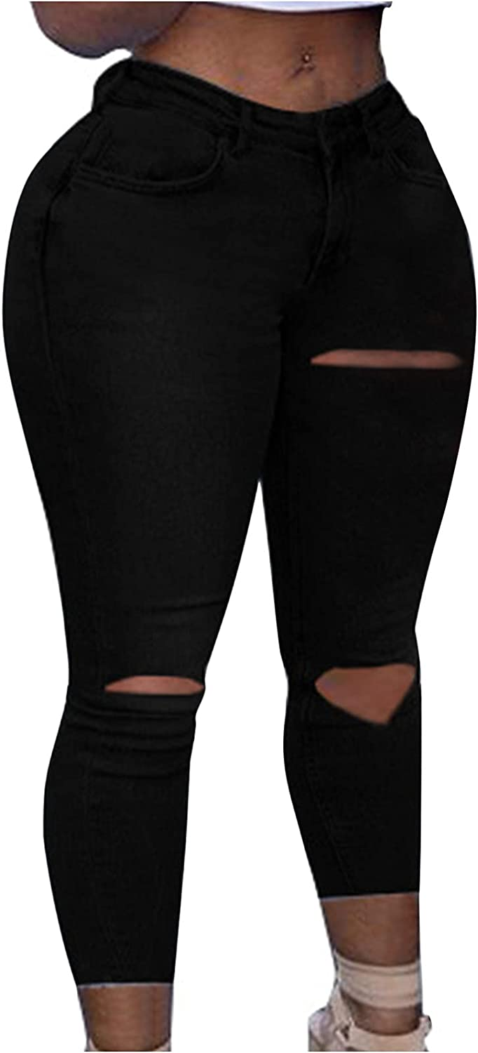 Women's Skinny Stretch Jeans Hip-Lift Slim Fit Jeans High Waist Ripped Denim Pants Strappy Calf Jeans