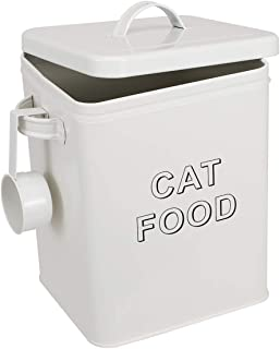 Pethiy Cat Food and Treats Containers Set with Scoop for Cats or Dogs -Tight Fitting Wood Lids - Coated Carbon Steel - Sto...