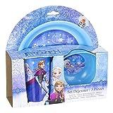 Frozen Die Eiskönigin 3-Teilig Set Desayuno 3 Piezas plastico (Suncity RNC102397), carbón, 15 x 25 x 12 cm