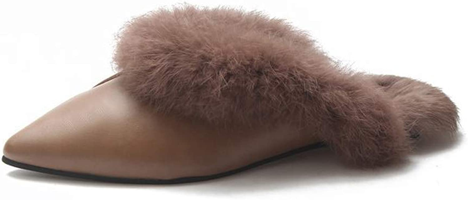 Women's Slippers Plush shoes Ponted Toes Outdoor Slippers Non-Slip Autumn Winter Home shoes
