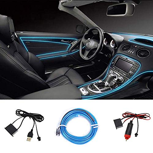 SEAMETAL LED Innenbeleuchtung Auto, 5m LED Auto LED Strip, Upgrade USB Ambientebeleuchtung Auto Streifen 5V/12V
