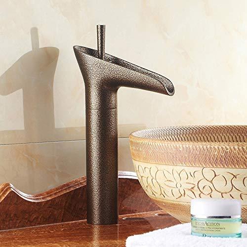 Bradoner Vintage Bump Textura De Cobre De Baño Lavabo Grifo Home Hotel Creativo Copa De Vino Shape Solo Agujero Grifo