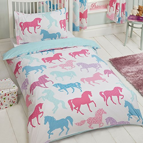 Price Right Home Patchwork Ponies Horses 2 Piece UK Single/US Twin Sheet Set, 1 x Double Sided Sheet and 1 x Pillowcase