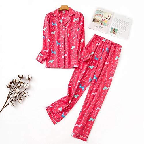 FLORVEY Nuevos Pijamas de Mujer Kawaii de Dibujos Animados Pijamas de algodn Cepillado Femenino Lindo Traje de Noche de Manga Larga Ropa de Dormir Patio Grande