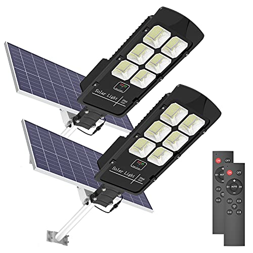 2 Pack 400W Solar Street Flood Light Outdoor Motion Sensor Dusk to Dawn Solar Fixture with Remote Control IP66 Waterproof Led Pole Lights for Parking Lot Stadium Garden Pathway