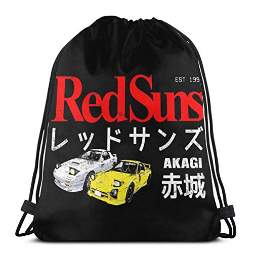 WH-CLA Drawstring Bags Initial D Akagi Redsuns Anime Drawstring Backpack Cinch Bags Casual Unique Sport Drawstring Bags Fitness Outdoor Gym Gift Print Men Women Yoga