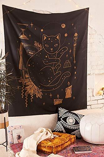 N / A Tapiz de Tarot de café para Colgar en la Pared, Tapiz de Pared de Gato de Vino, Tapiz de Mandala, decoración Boho, tapices de Tela de Pared A5 95cmx73cm