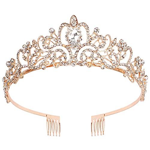 Tiara de cumpleaños para niñas con peinetas, diadema de princesa, reina, con...