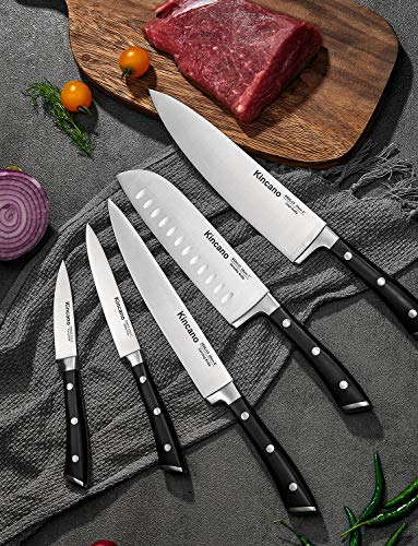 Knife Set, 15 Pieces Kitchen Knife Set with Wooden Block Forged Premium German High Carbon Stainless Steel, Classic Triple Rivet Chef Knife, Super Sharp Kitchen Knives, Perfect Cutlery Set Gift