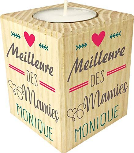 Bougie personnalisée Meilleure des Mamies – Porte Bougie en bois personnalisé avec le prénom de Mamie – Cadeau Noël, anniversaire, fête des grands mères – Cadeau personnalisable pour Mamy