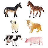 JZK Set 6 Animale Fattoria Giocattolo plastica Figura Giocattoli da Bagno animaletti per Bambini Regalo bomboniera Pensiero pensierino Festa Compleanno