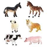 JZK 6 Conjunto Animales Juguete Collie Cerdo Vaca Caballo Burro Oveja, Juguetes porttiles para el bao playset para nios Regalo cumpleaos para nios pequeos Chicos Chicas nios