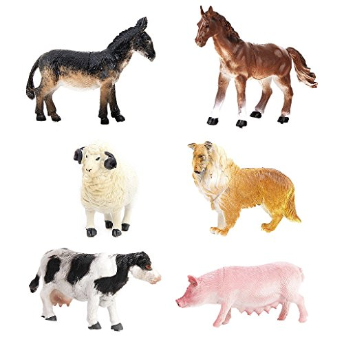 JZK 6 x Bauernhoftiere Figuren Spielzeugfigur Set Bauernhof Spielfiguren Farm Spielzeug Collie Hund Schwein Kuh Pferd Esel Schaf für Kinder Geburtstag Mitgebsel Party Geschenk