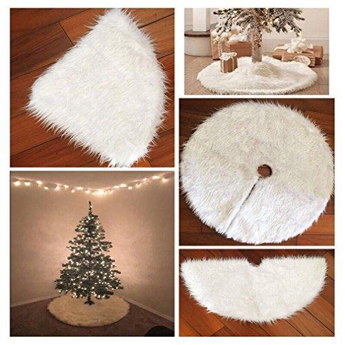 Albeey Runde Plüsch Weihnachtsbaum Röcke Weiß Urlaub Baum Ornamente